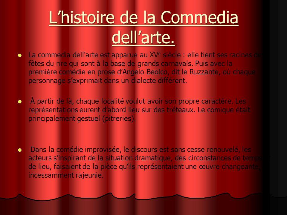 L'histoire de la Commedia dell'arte.