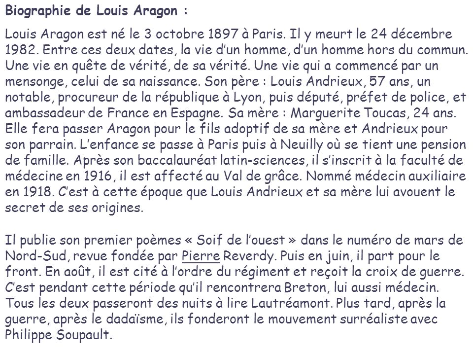 Biographie de Louis Aragon :