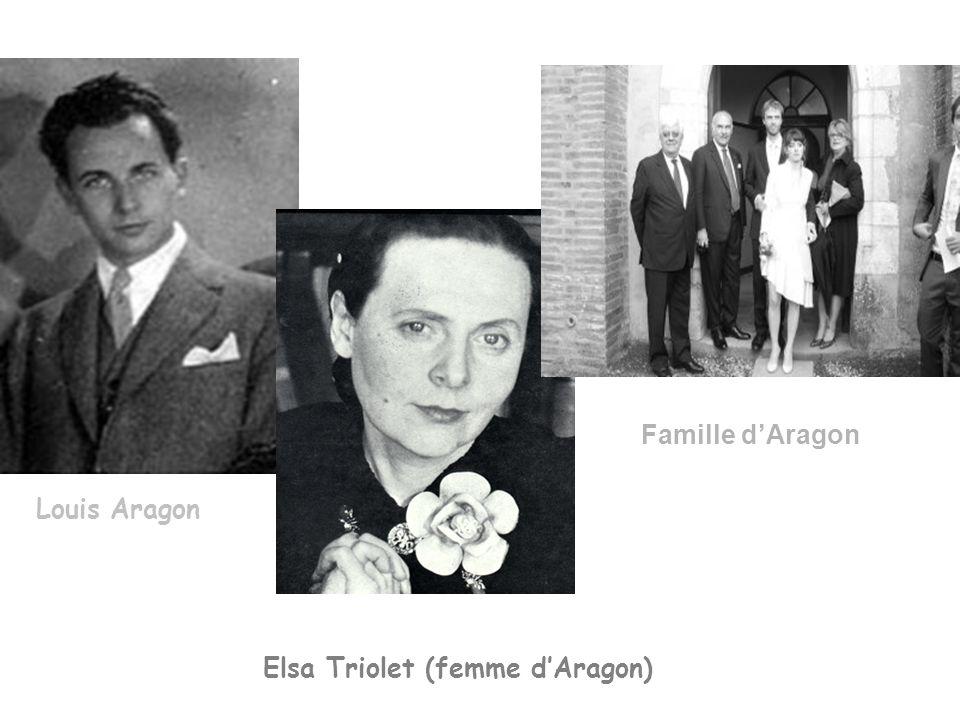 Famille d'Aragon Louis Aragon Elsa Triolet (femme d'Aragon)