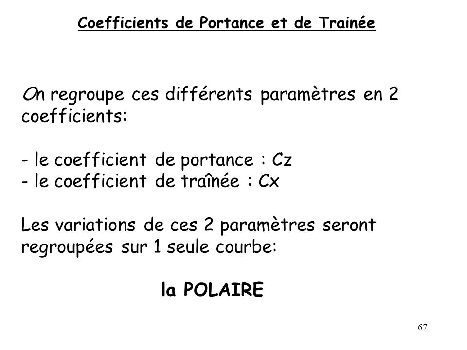Coefficients de Portance et de Trainée