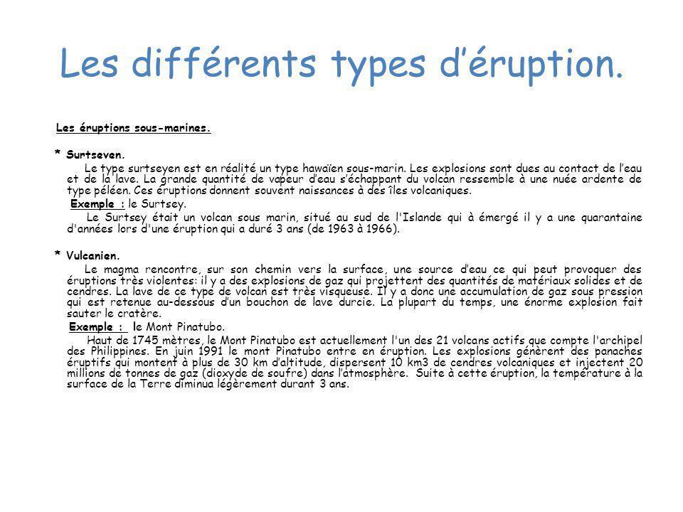 Les différents types d'éruption.