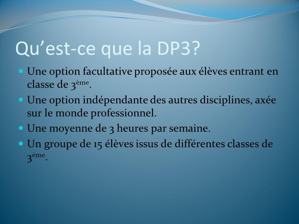 Qu'est-ce que la DP3 Une option facultative proposée aux élèves entrant en classe de 3ème.