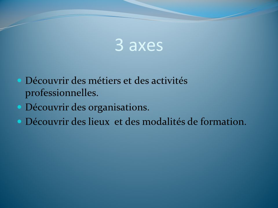 3 axes Découvrir des métiers et des activités professionnelles.