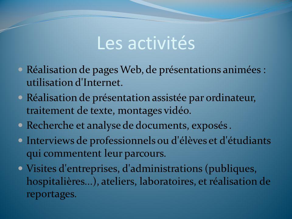 Les activités Réalisation de pages Web, de présentations animées : utilisation d Internet.