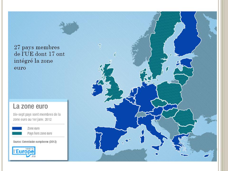 27 pays membres de l'UE dont 17 ont intégré la zone euro