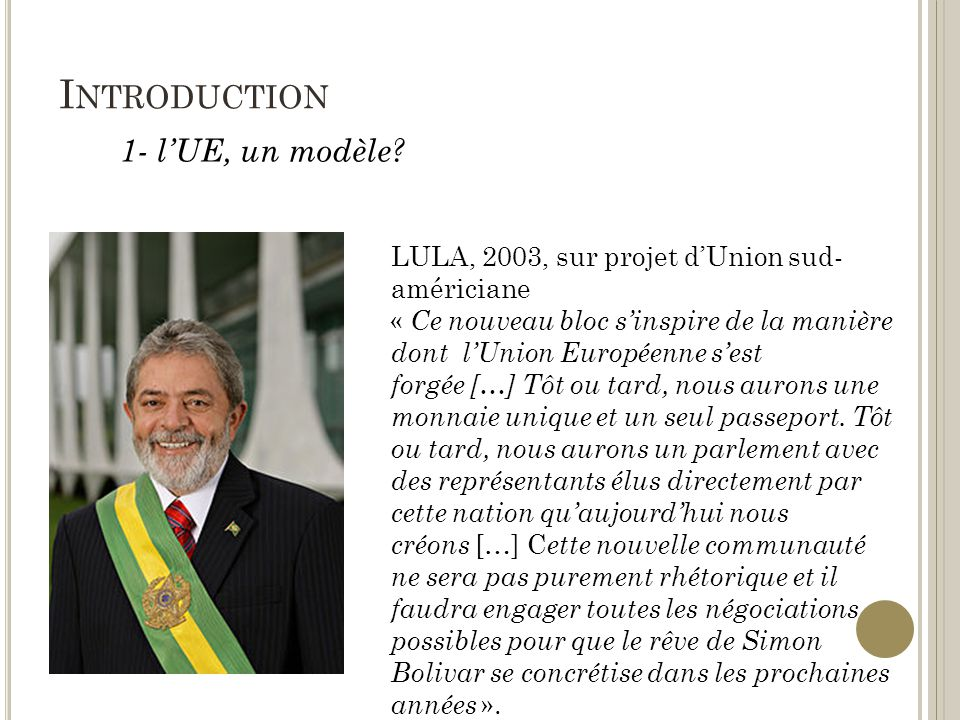 Introduction 1- l'UE, un modèle