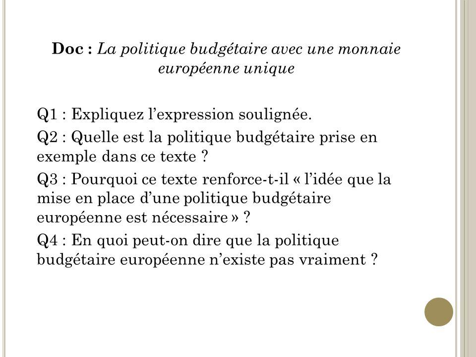 Doc : La politique budgétaire avec une monnaie européenne unique