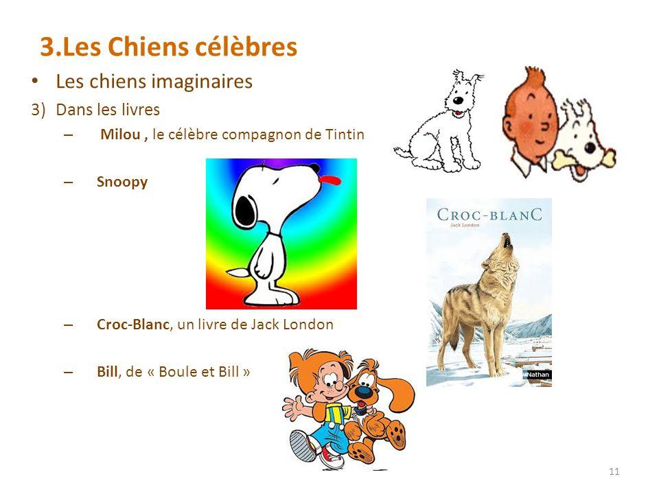 3.Les Chiens célèbres Les chiens imaginaires Dans les livres