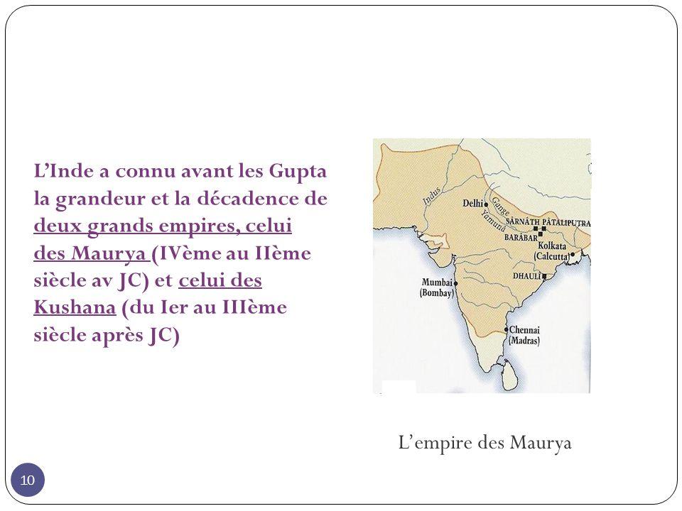 L'Inde a connu avant les Gupta la grandeur et la décadence de deux grands empires, celui des Maurya (IVème au IIème siècle av JC) et celui des Kushana (du Ier au IIIème siècle après JC)