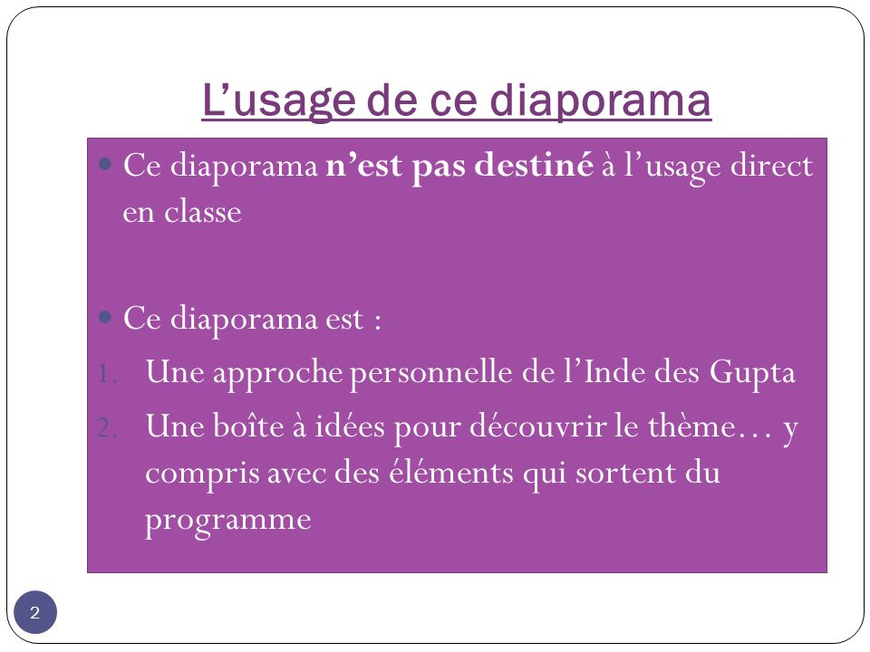 L'usage de ce diaporama