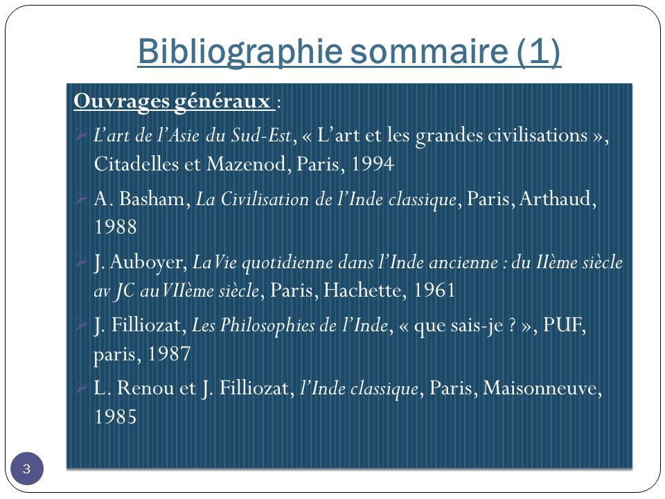 Bibliographie sommaire (1)