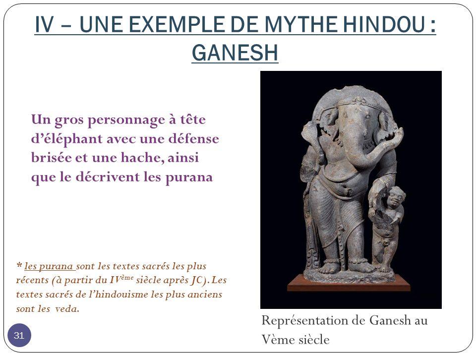 IV – UNE EXEMPLE DE MYTHE HINDOU : GANESH
