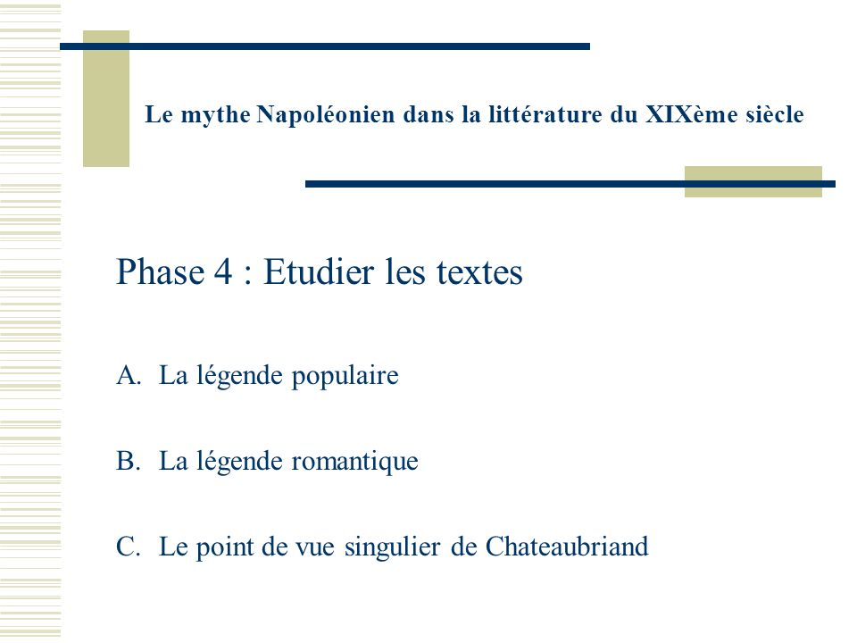 Phase 4 : Etudier les textes