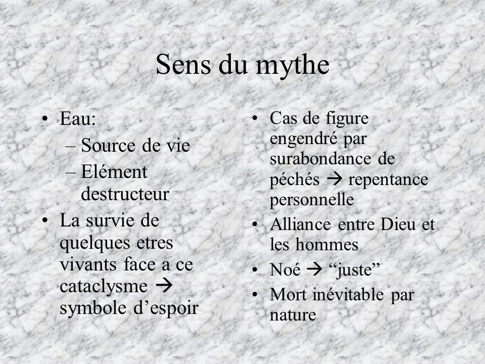 Sens du mythe Eau: Source de vie Elément destructeur