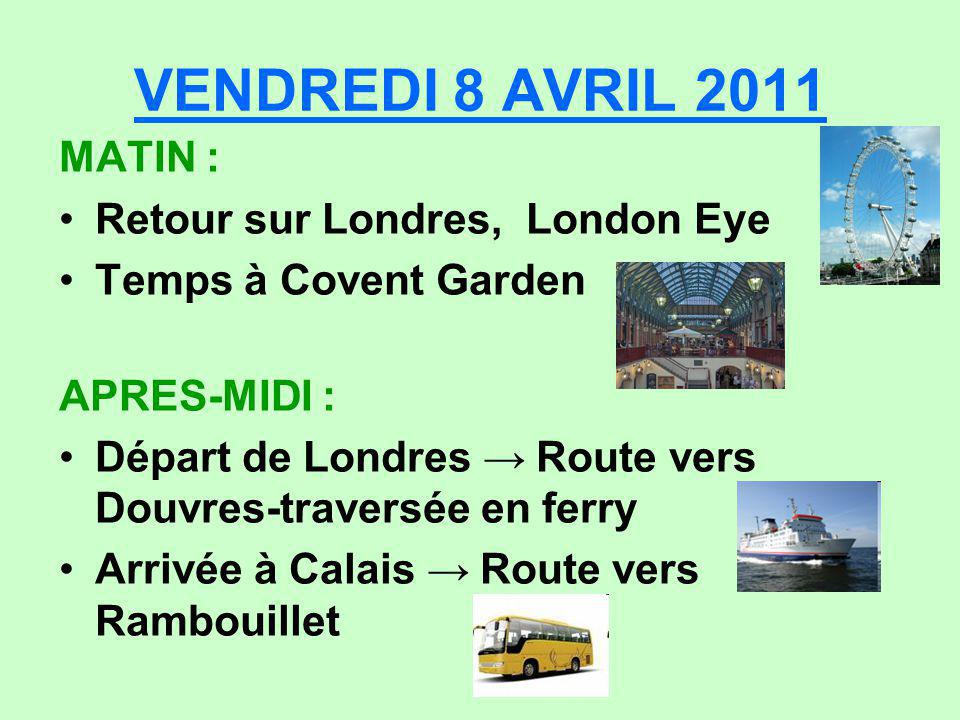 VENDREDI 8 AVRIL 2011 MATIN : Retour sur Londres, London Eye