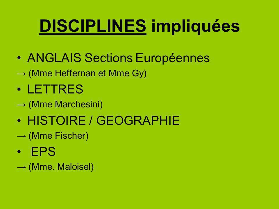 DISCIPLINES impliquées