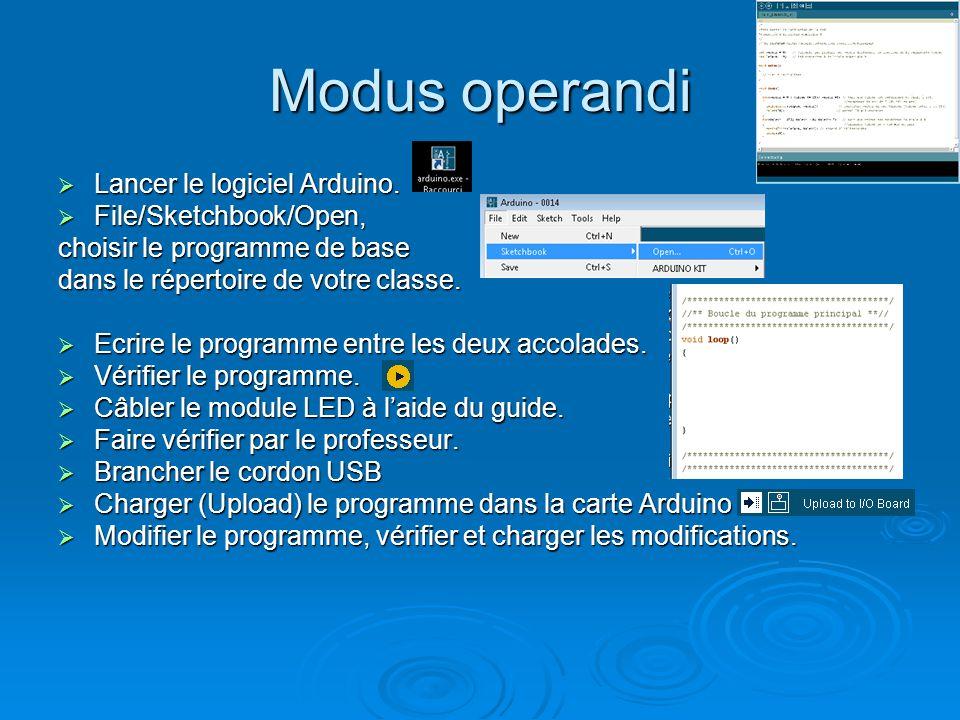 Modus operandi Lancer le logiciel Arduino. File/Sketchbook/Open,