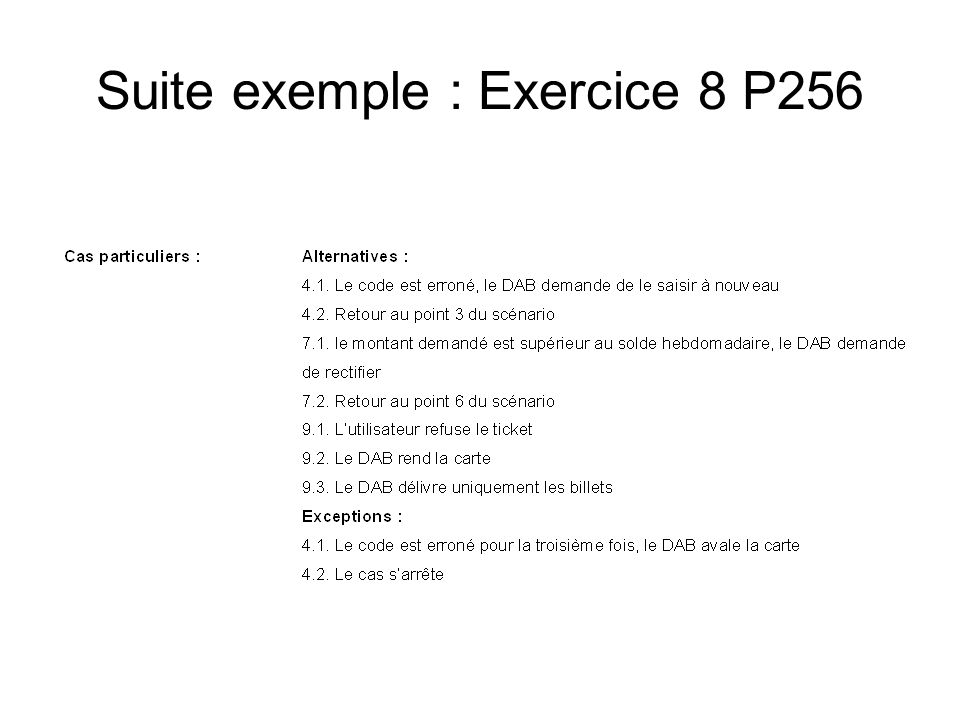 Suite exemple : Exercice 8 P256