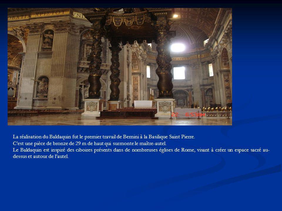 La réalisation du Baldaquin fut le premier travail de Bernini à la Basilique Saint Pierre.