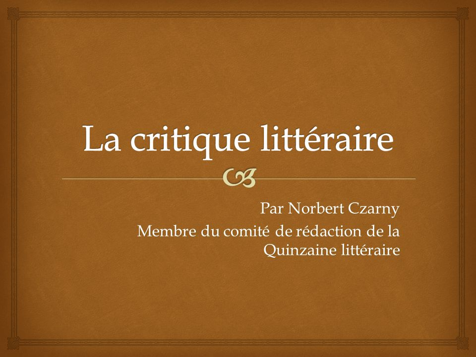 La critique littéraire