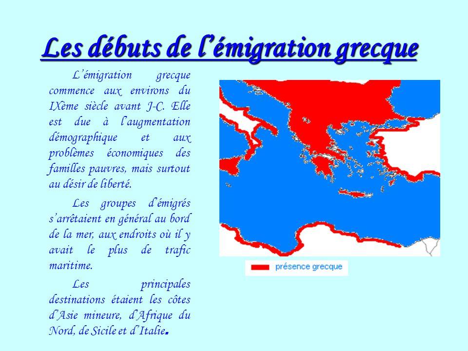 Les débuts de l'émigration grecque