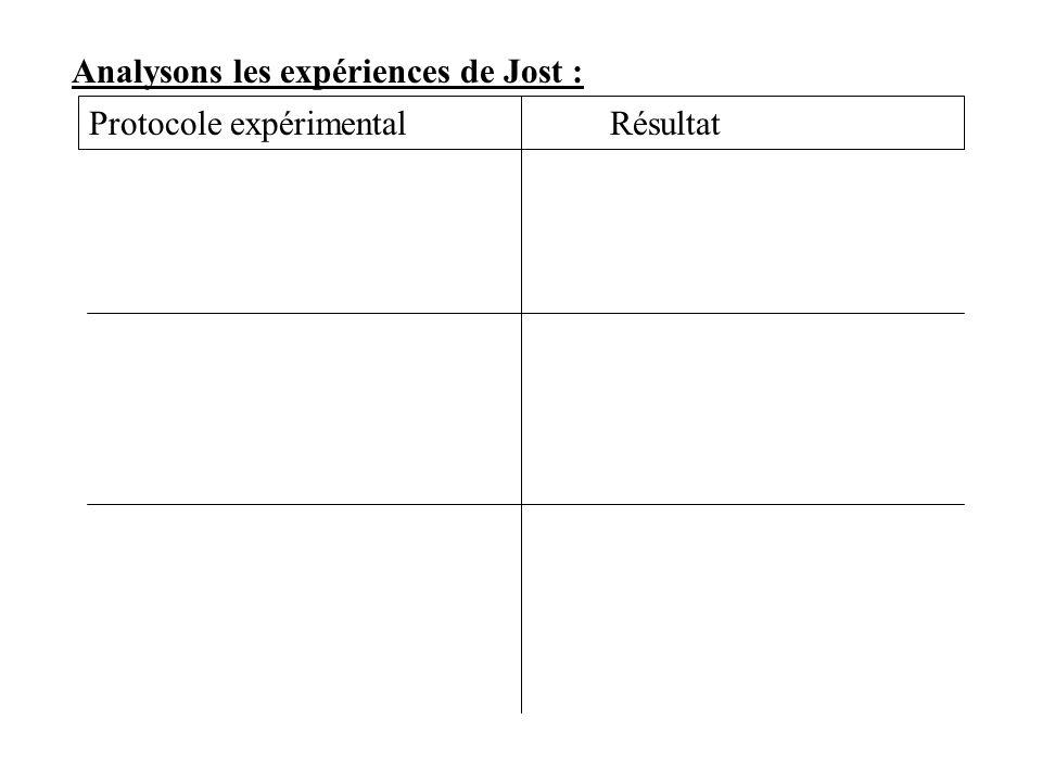 Analysons les expériences de Jost :