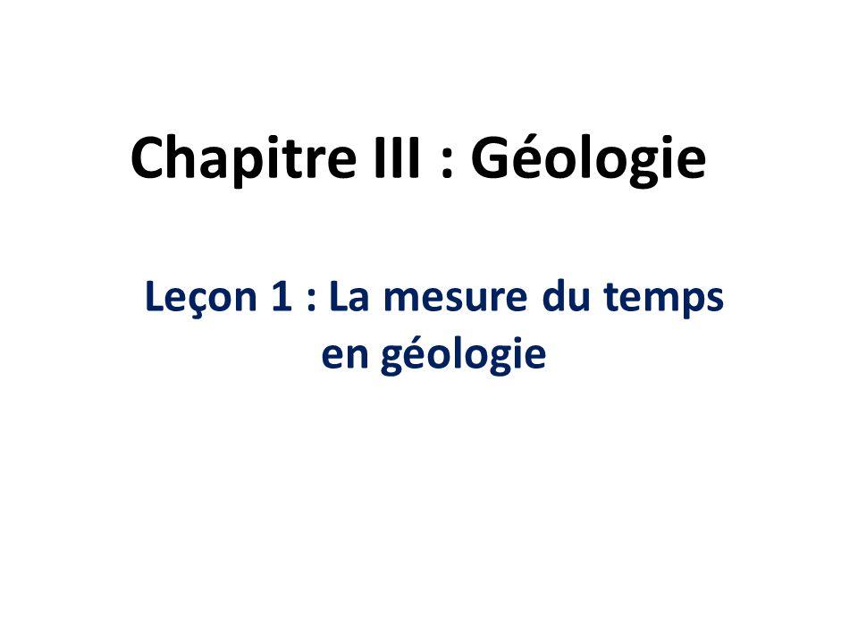 Chapitre III : Géologie