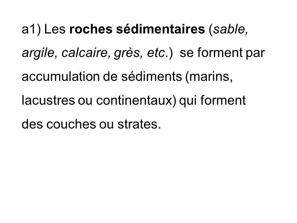 a1) Les roches sédimentaires (sable, argile, calcaire, grès, etc