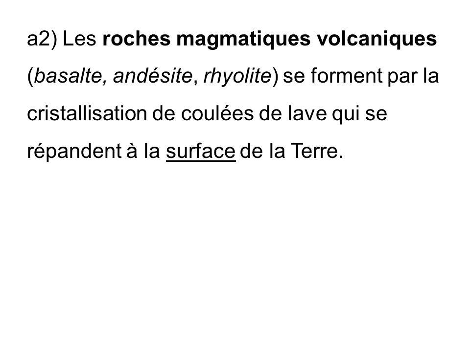 a2) Les roches magmatiques volcaniques (basalte, andésite, rhyolite) se forment par la cristallisation de coulées de lave qui se répandent à la surface de la Terre.