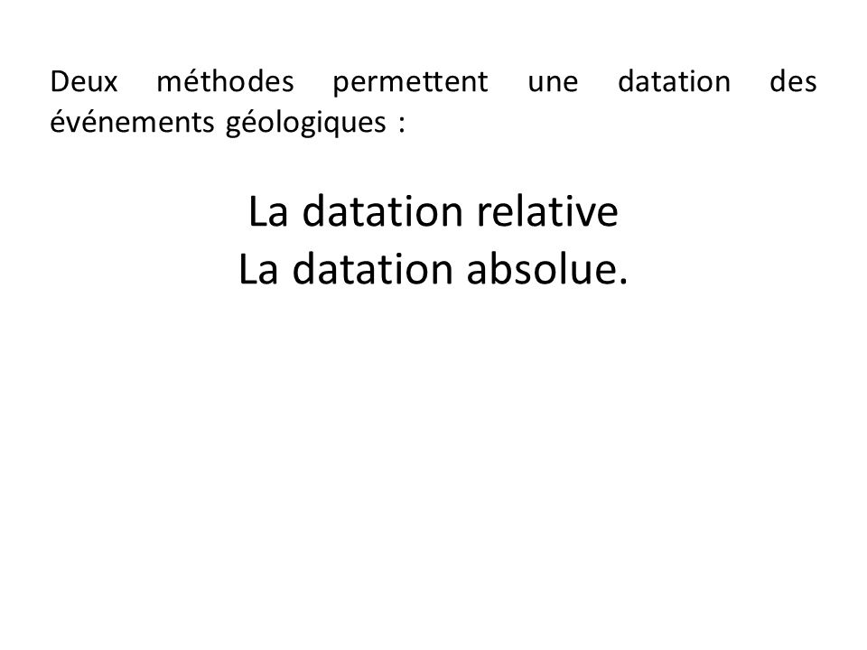 La datation relative La datation absolue.