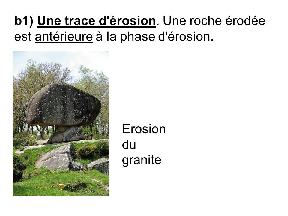 b1) Une trace d érosion. Une roche érodée est antérieure à la phase d érosion.