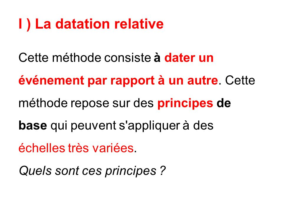 I ) La datation relative