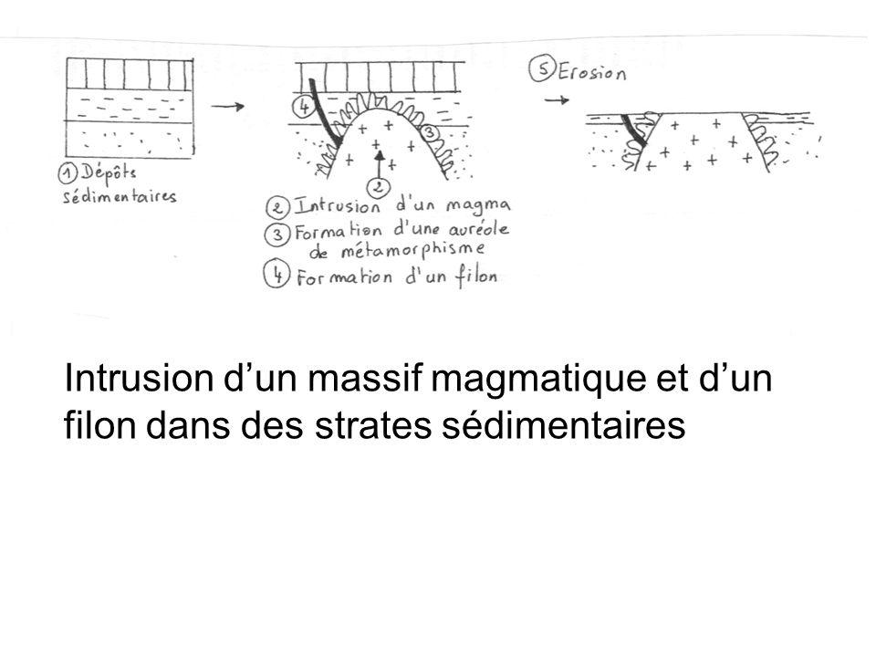 Intrusion d'un massif magmatique et d'un filon dans des strates sédimentaires