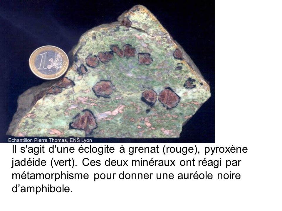 Il s agit d une éclogite à grenat (rouge), pyroxène jadéide (vert)
