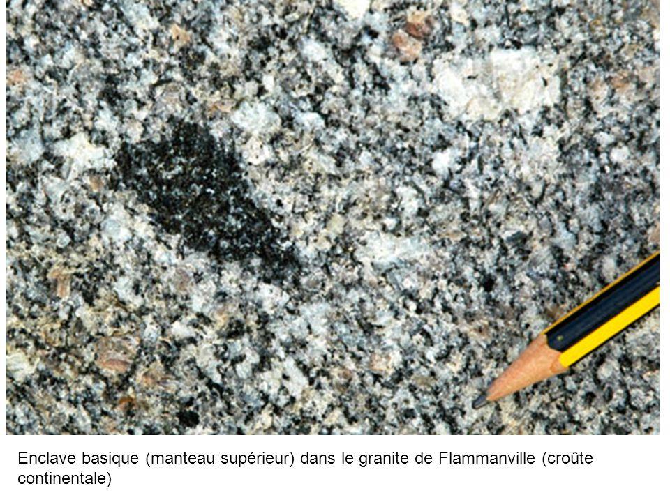 Enclave basique (manteau supérieur) dans le granite de Flammanville (croûte continentale)