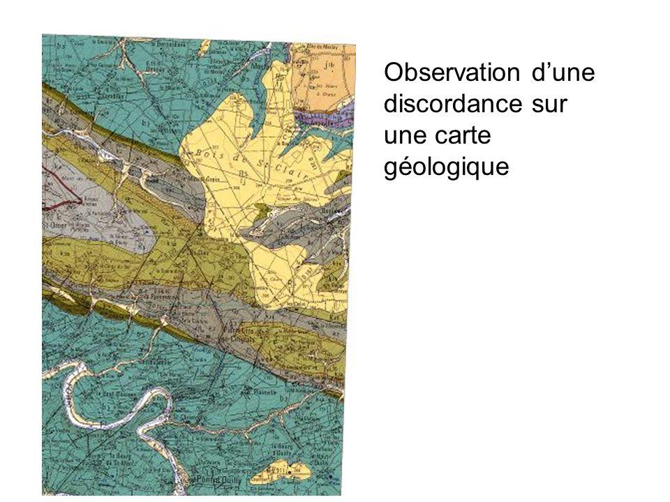 Observation d'une discordance sur une carte géologique