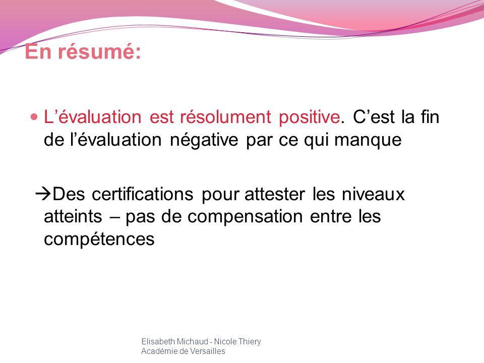 En résumé: L'évaluation est résolument positive. C'est la fin de l'évaluation négative par ce qui manque.