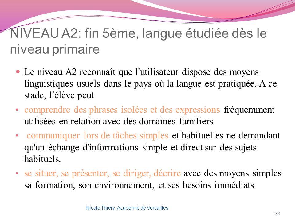 NIVEAU A2: fin 5ème, langue étudiée dès le niveau primaire