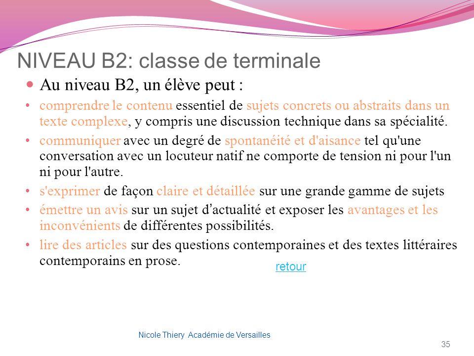 NIVEAU B2: classe de terminale