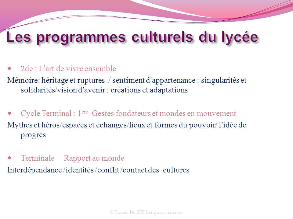 Les programmes culturels du lycée