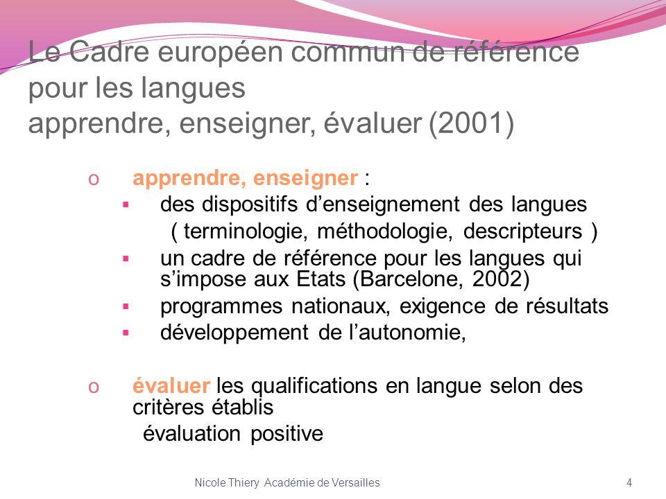 Le Cadre européen commun de référence pour les langues apprendre, enseigner, évaluer (2001)