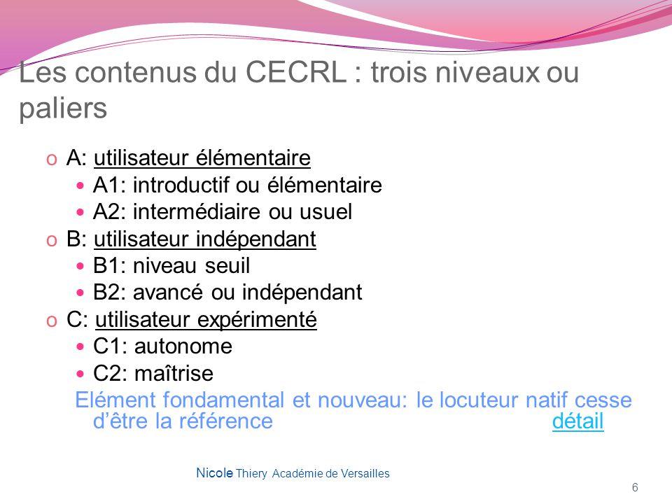 Les contenus du CECRL : trois niveaux ou paliers