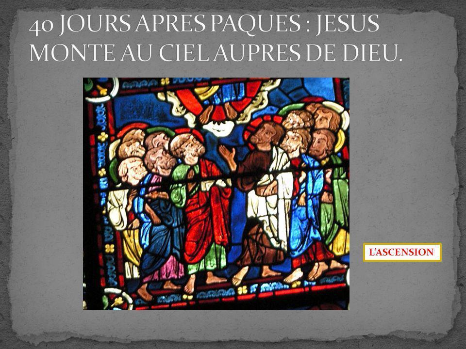 40 JOURS APRES PAQUES : JESUS MONTE AU CIEL AUPRES DE DIEU.