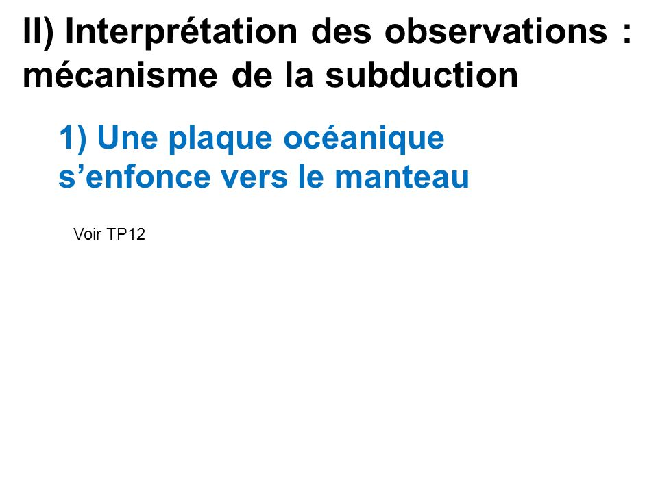 II) Interprétation des observations : mécanisme de la subduction