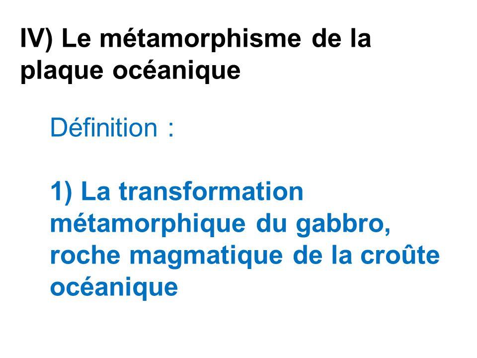 IV) Le métamorphisme de la plaque océanique