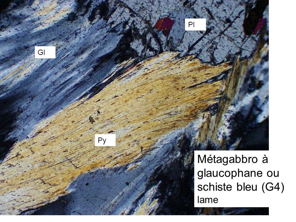 Métagabbro à glaucophane ou schiste bleu (G4)