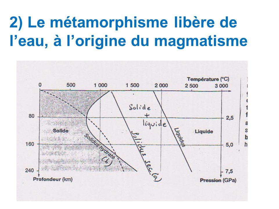 2) Le métamorphisme libère de l'eau, à l'origine du magmatisme