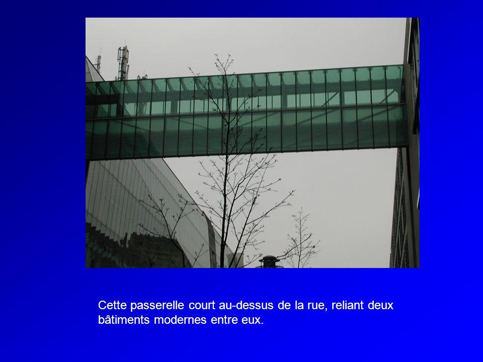 Cette passerelle court au-dessus de la rue, reliant deux bâtiments modernes entre eux.