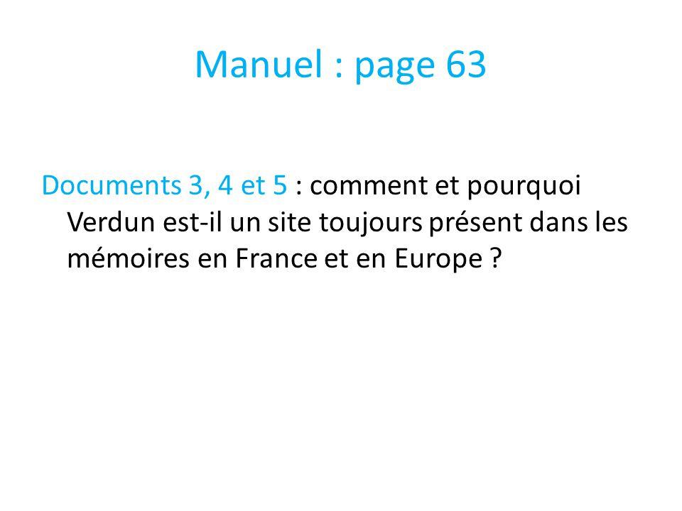 Manuel : page 63 Documents 3, 4 et 5 : comment et pourquoi Verdun est-il un site toujours présent dans les mémoires en France et en Europe