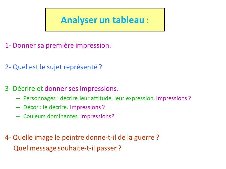 Analyser un tableau : 1- Donner sa première impression.